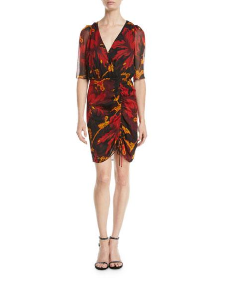 Diane von Furstenberg Kelda Floral Ruched Half-Sleeve Dress