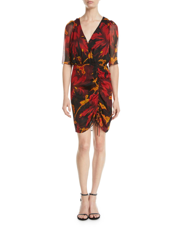 791b712ac850d Diane von Furstenberg Kelda Floral Ruched Half-Sleeve Dress | Neiman ...