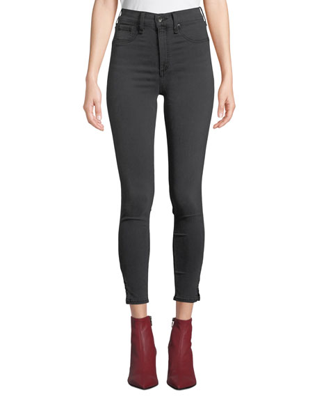Rag & Bone High-Rise Ankle Skinny Jeans with Slit Hem