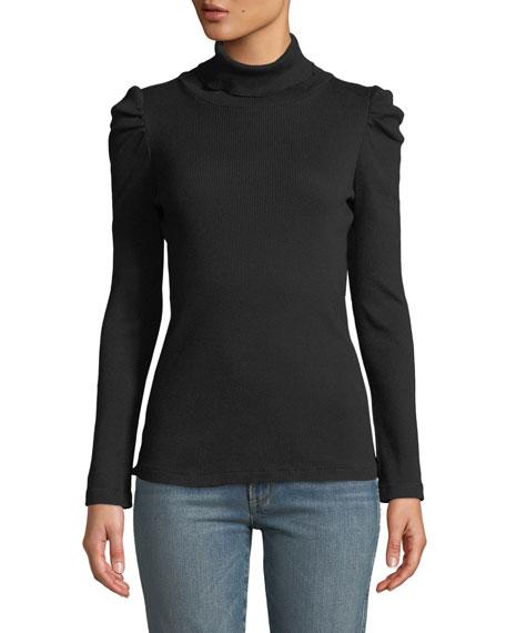 AMO Denim Puff-Sleeve Turtleneck Pullover Sweater