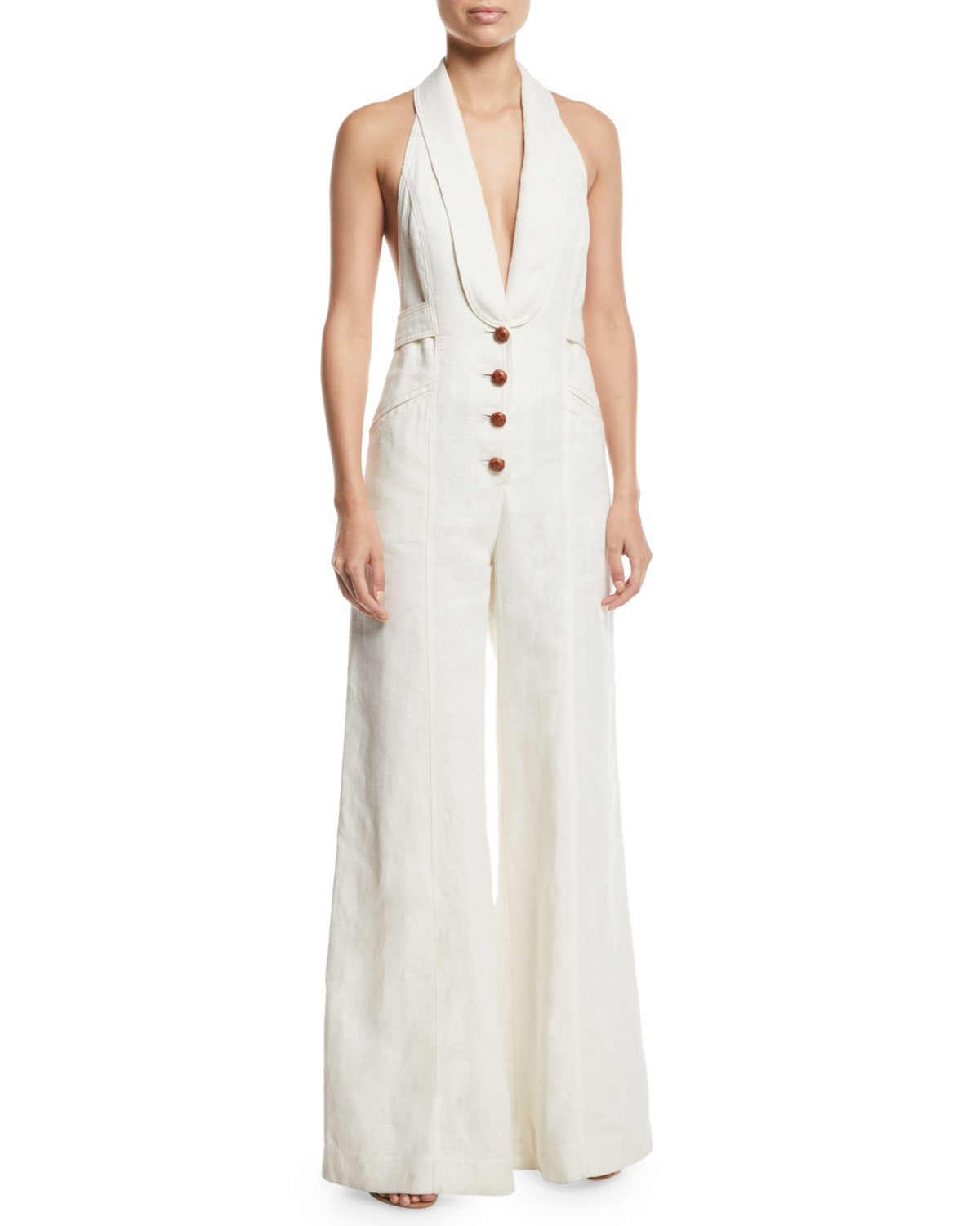d2ca4f442bc Zimmermann Corsage Tailored Wide-Leg Linen Jumpsuit
