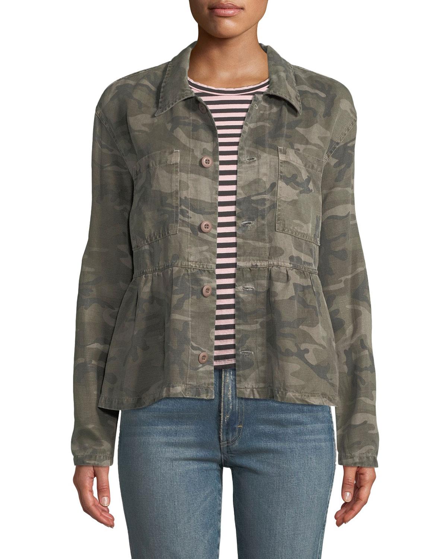 26791e8d6 Rosie Camo-Print Cropped Peplum Jacket