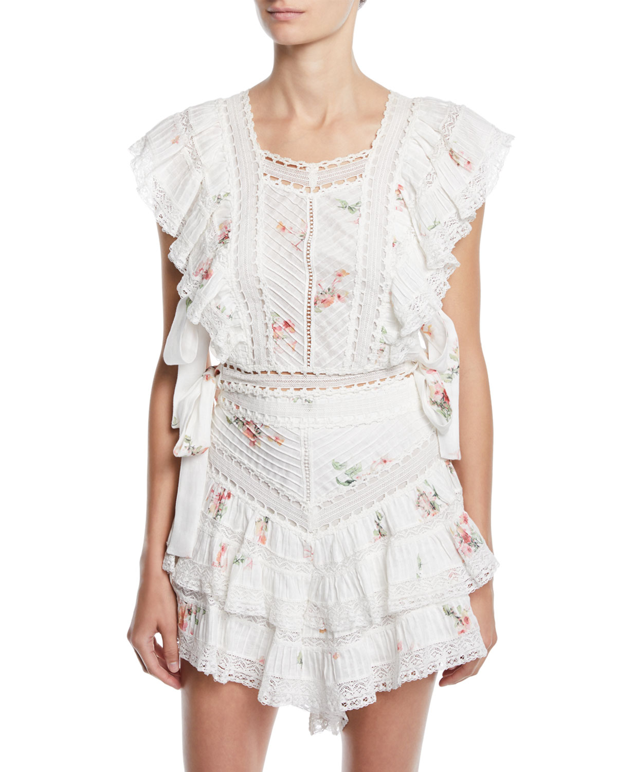 749d7bc166 Zimmermann Heathers Pintuck Floral Cropped Ruffle Blouse