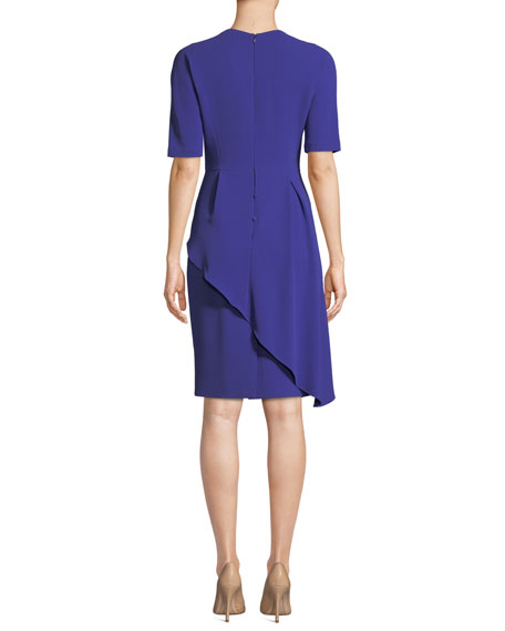 Rickie Freeman for Teri Jon Short-Sleeve Asymmetric Peplum Cocktail Dress