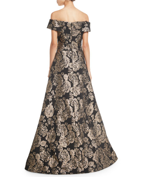 96bbcaa1277 Rickie Freeman for Teri Jon Off-the-Shoulder Floral Jacquard Ball ...
