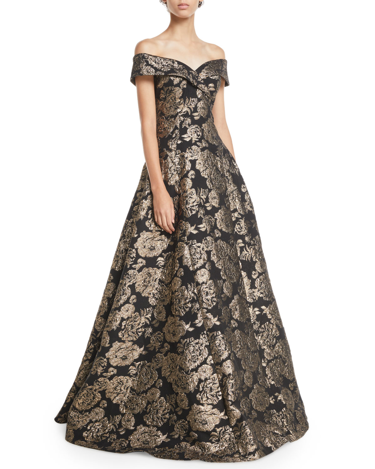 e19bdf8f65d Rickie Freeman for Teri Jon Off-the-Shoulder Floral Jacquard Ball Gown