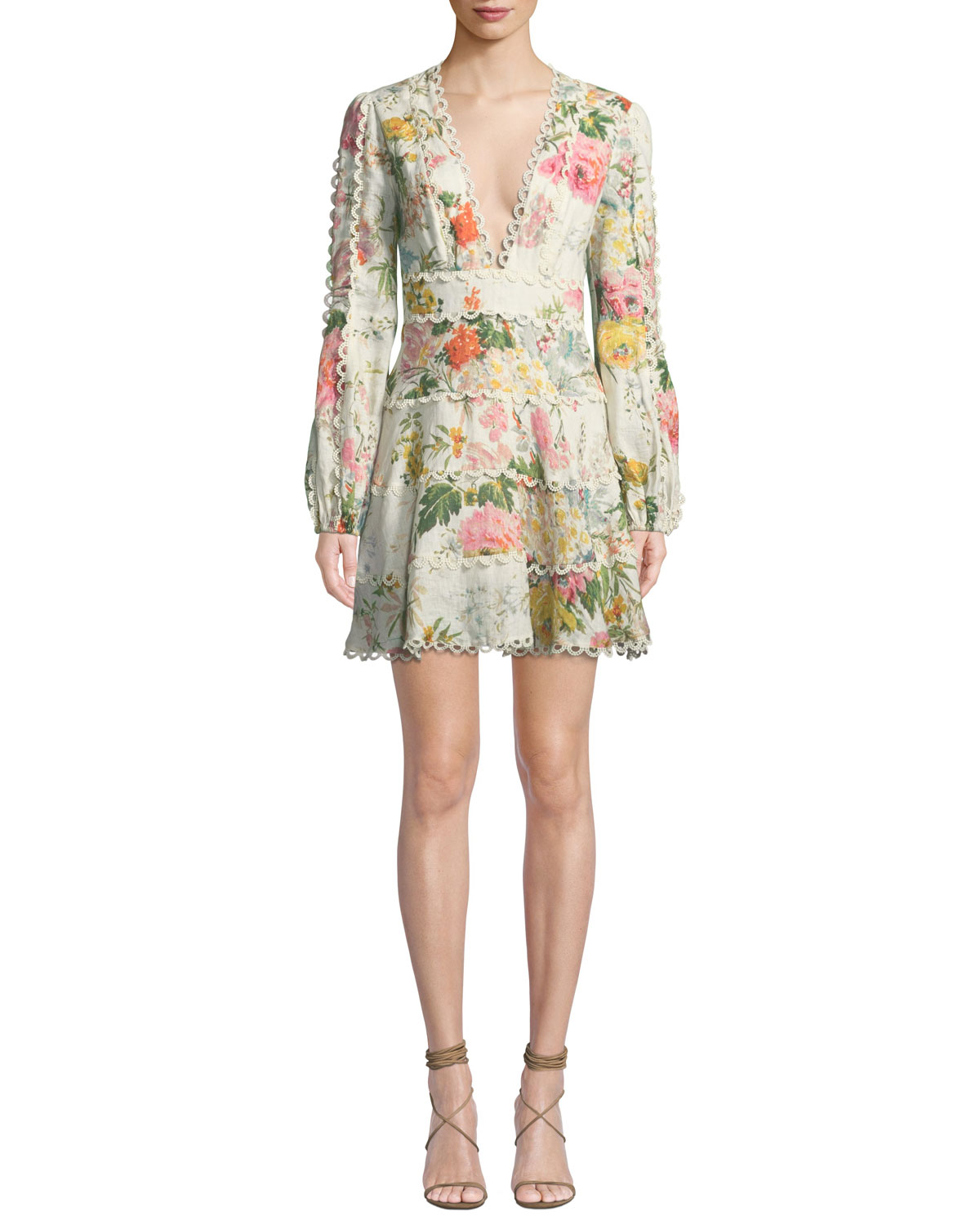 d0e8d3f31a5 Zimmermann Heathers Floral-Print Linen Long-Sleeve Mini Dress ...
