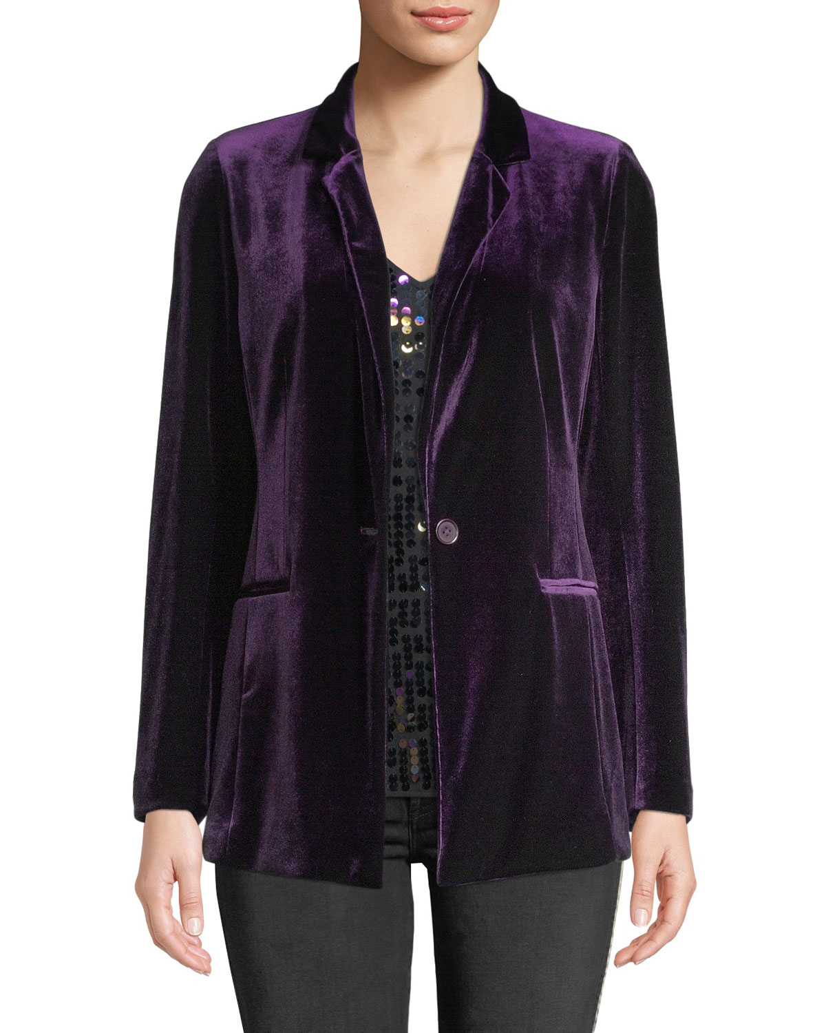 Joan Vass One-Button Velvet Jacket And Matching Items