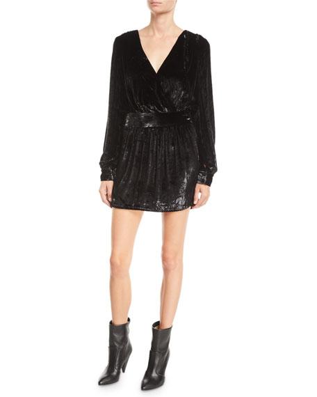 Metallic Velvet Long-Sleeve Short Cocktail Dress in Black