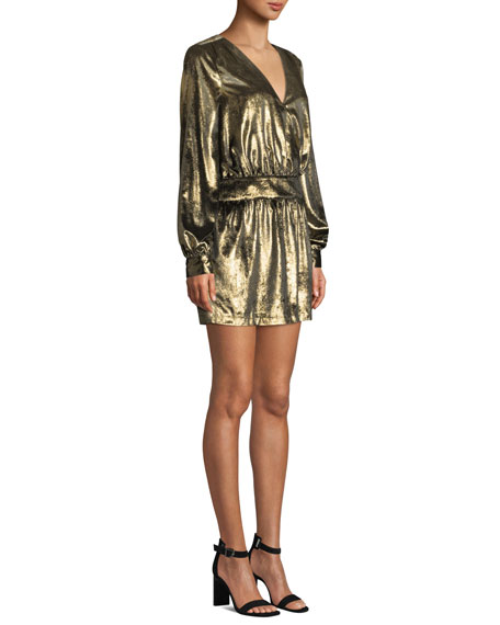 FRAME Metallic Velvet Long-Sleeve V-Neck Mini Dress