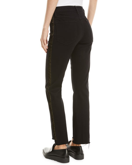 FRAME Le High Straight Stagger-Hem Jeans with Velvet Stripes
