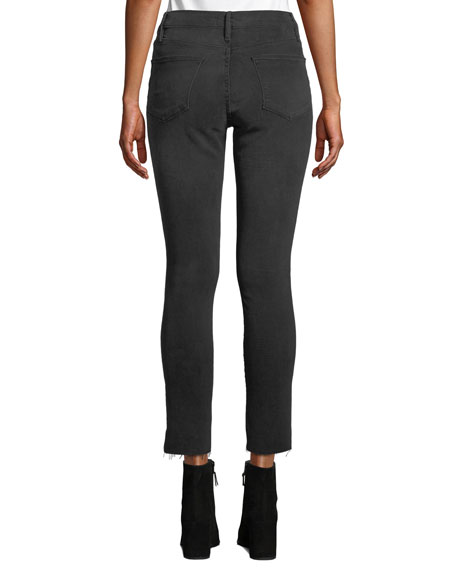 FRAME Le High Skinny Ankle Jeans with Raw Stagger Hem