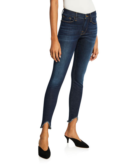 FRAME Le High Skinny Ankle Jeans with Chewed