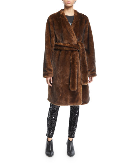 FRAME Faux-Mink Open-Front Long Jacket