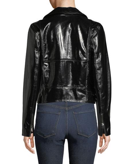 FRAME Slick Cropped Leather Moto Jacket