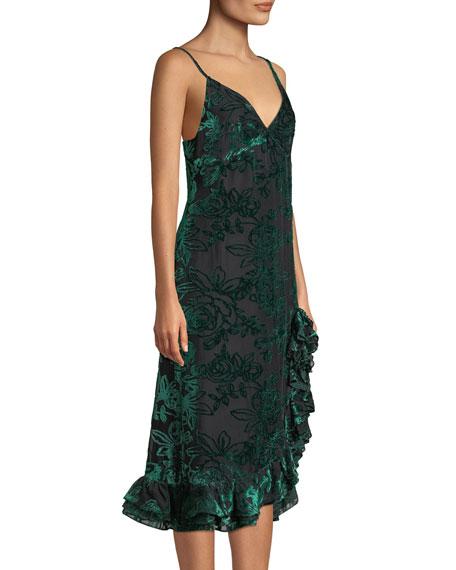 Caroline Constas Elvira Velvet Burnout Ruffle Slip Dress