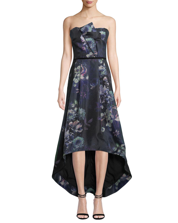 62ea5817dd1 Parker Black Estelle Strapless Floral High-Low Dress