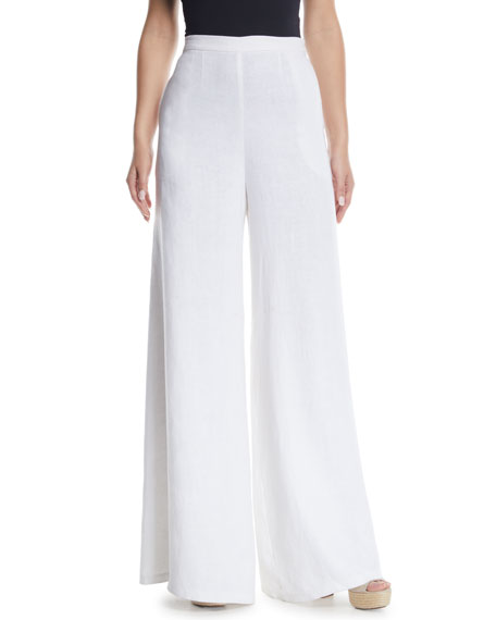 Miguelina Pamela Wide-Leg Linen Pants