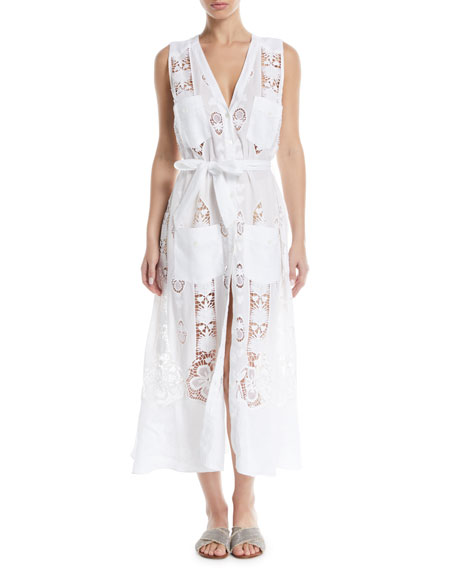 Miguelina Alexia Button-Front Sleeveless Lace Embroidered Cotton Coverup Dress