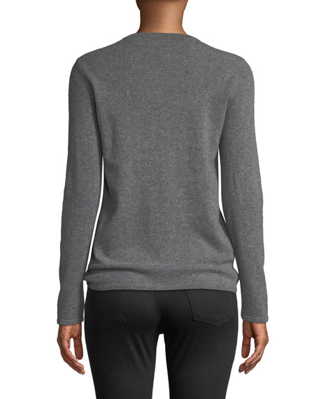 Neiman Marcus Cashmere Collection Embellished-Front Cashmere Pullover Sweater