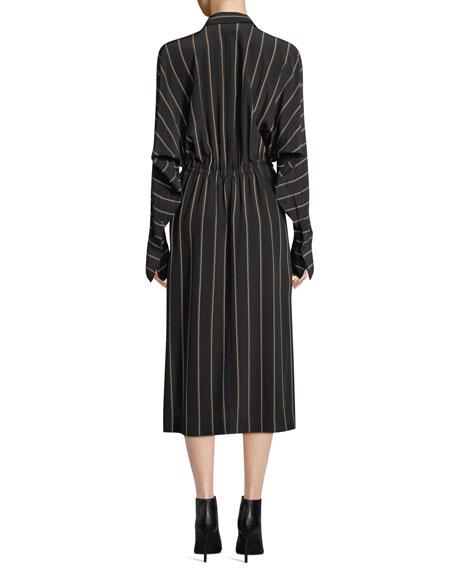 A.L.C. Nico Surplice Long-Sleeve Striped Silk Midi Dress
