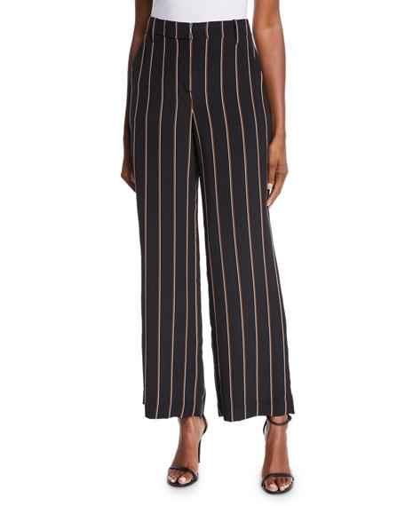A.L.C. Erso Striped Silk Straight-Leg Pants