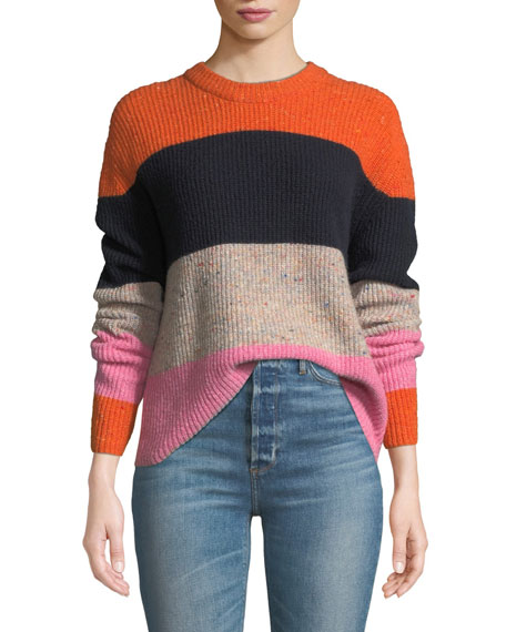 Colorblocked Wool-Blend Crewneck Sweater - Orange Size Xs