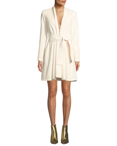 Kiera Belted Crepe Long-Sleeve Dress