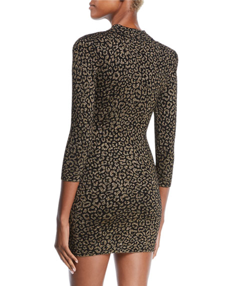 A.L.C. Mahry Fitted Metallic Animal-Print Short Dress