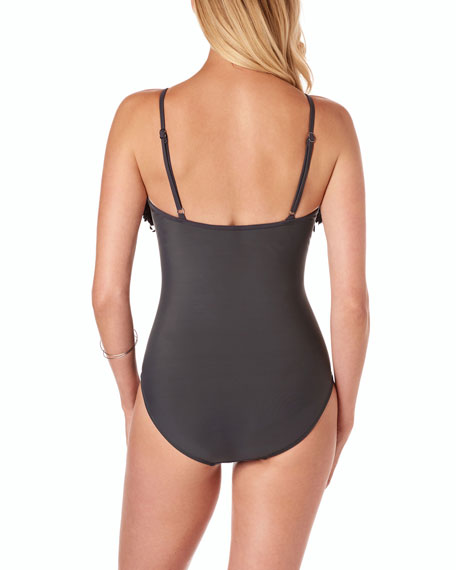 Magicsuit Blaire V-Neck Solid One-Piece Swimsuit w/ Fringe