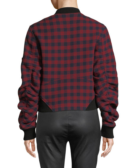 A.L.C Wools ANDREW PLAID WOOL BOMBER JACKET