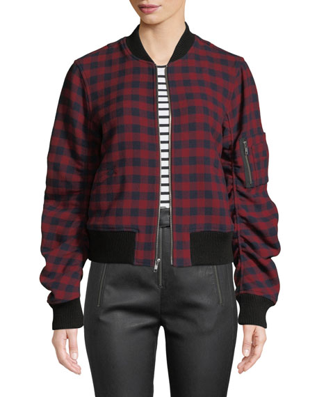 A.L.C. Andrew Plaid Wool Bomber Jacket