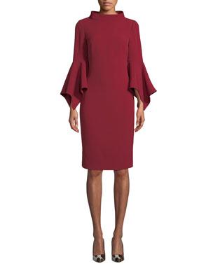 499e41b8ad6f69 Badgley Mischka Collection Bell-Sleeve Sheath Dress