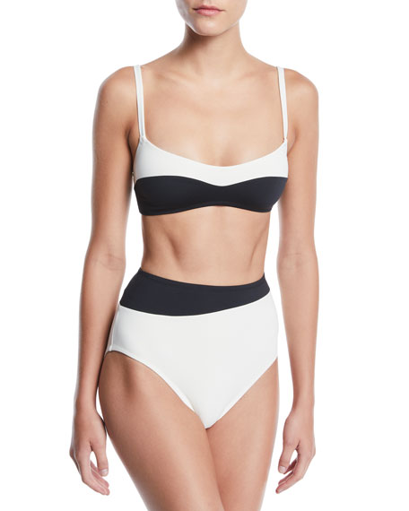 Proenza Schouler Colorblocked Bralette High-Waist Two-Piece Bikini Swim Set