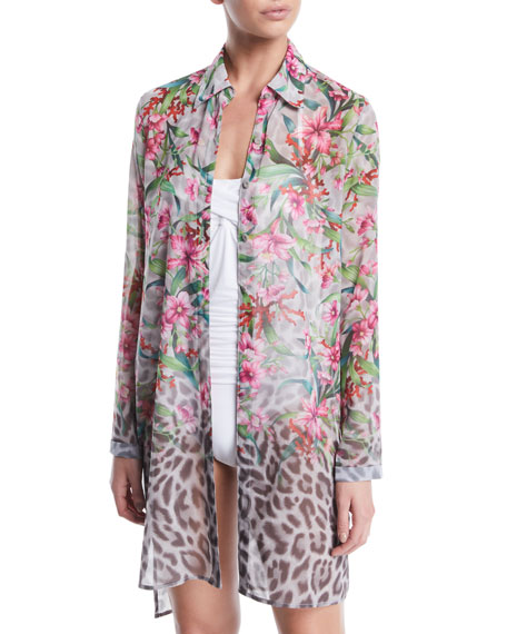 Carmen Marc Valvo Ombre Floral/Leopard Sheer Button-Down Coverup