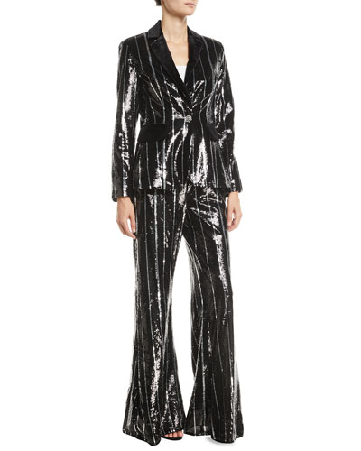 Flared Sequin Striped Pants