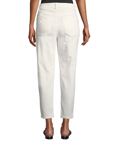 Eileen Fisher Mid-Rise Tapered-Leg Slim Ankle Jeans
