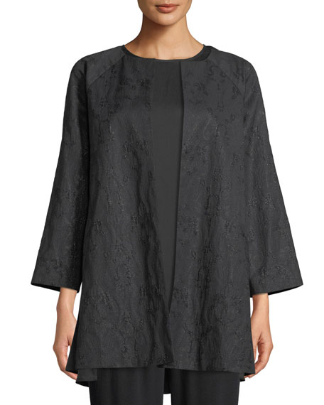 Eileen Fisher Shimmer Jacquard Long Open-Front Jacket