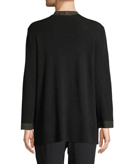 Eileen Fisher Merino Metallic Open-Front Cardigan