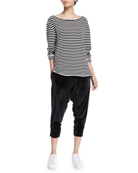 Eileen Fisher Stretch-Velvet Drawstring Cropped Slouchy Pants