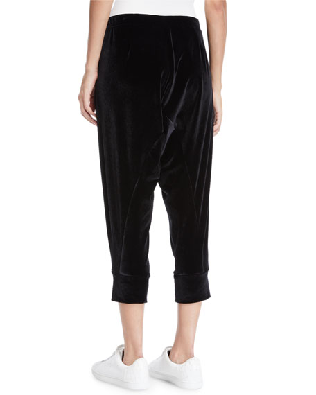 Eileen Fisher Plus Size Stretch-Velvet Drawstring Cropped Slouchy Pants