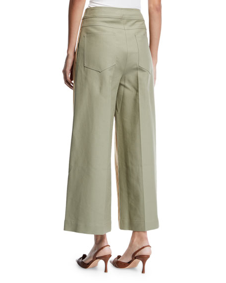 REJINA PYO Brodie Pleated Cropped Wide-Leg Trousers