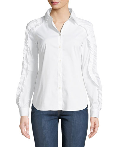 Ruffled-Trim Poplin Shirt