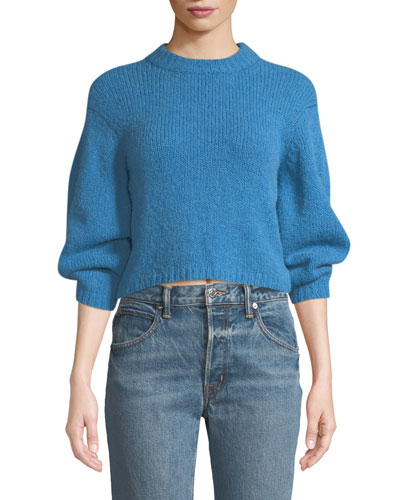 Cozette Cropped Alpaca Pullover Sweater