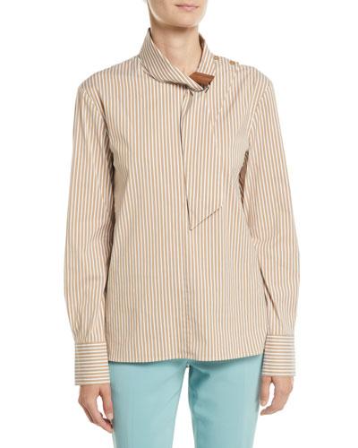 Kaia Striped Tie-Collar Long-Sleeve Shirt