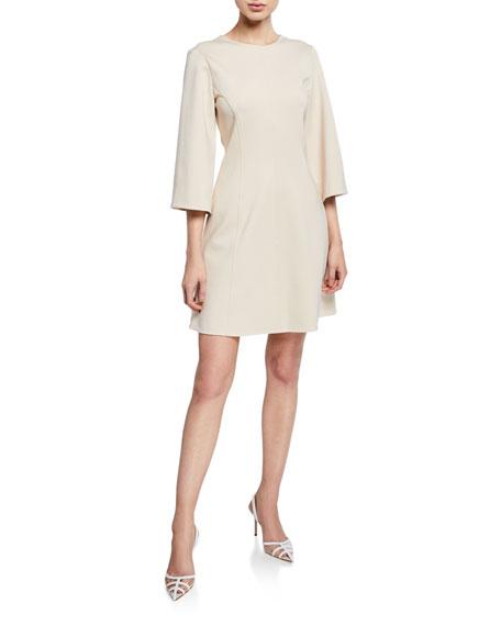 Stretch-Knit 3/4-Sleeve Mini Wrap Dress
