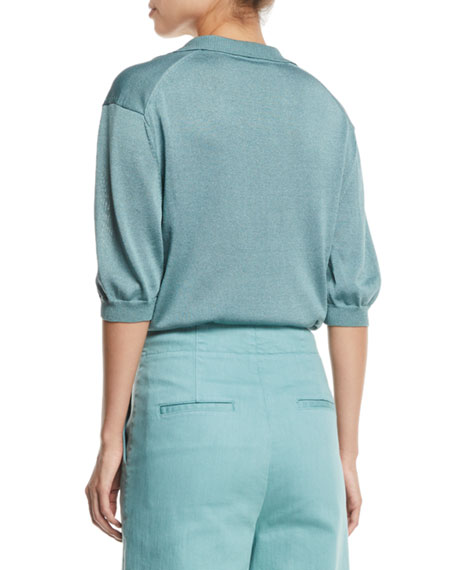 Tibi Rugby Elbow-Sleeve Cropped Polo Top