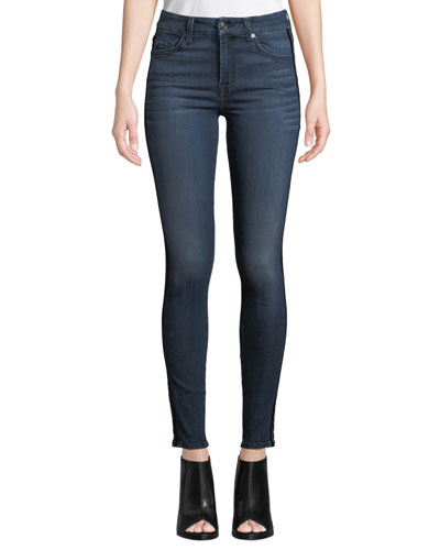 The Ankle Skinny Jeans with Velvet Stripes