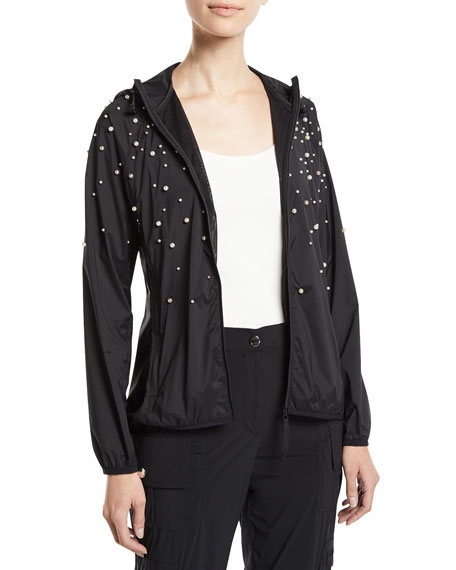 REDValentino Long-Sleeve Hoodie Jacket w/ Pearly Detail