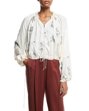 aff412a280cc 3.1 Phillip Lim Patchwork Floral Embellished Silk Bomber Jacket